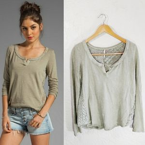 Free People Patches of Lace Long Sleeve Henley Tee